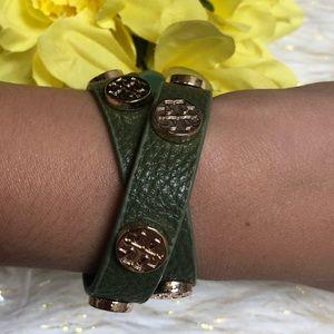 Tory Burch olive leather wrap bracelet